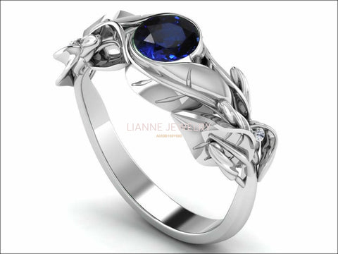 Floral Sapphire Engagement Ring Leaves Ring Solitaire Ring 18K Solid White Gold Twig Ring Branch Ring Botanical Ring Vintage Style - Lianne Jewelry