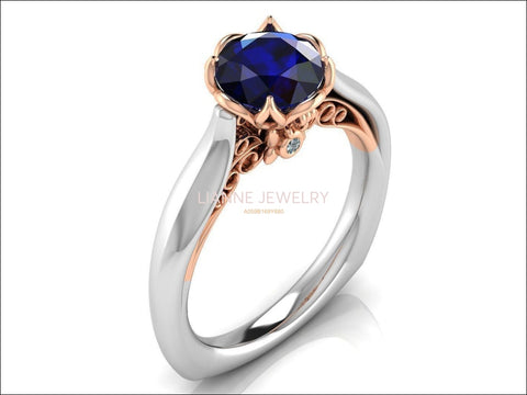 2 Tone Sapphire Engagement Ring Milgrain Solitaire Ring 18K Solid Gold Contour Filigree Vintage Style - Lianne Jewelry