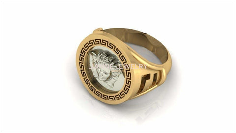 Gold ring Unique Men's gift Signet ring Men's ring Engraved Ring 18K White in Yellow gold - Lianne Jewelry