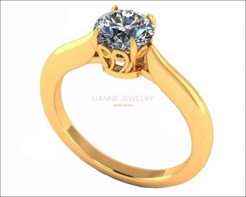 One carat Engagement Ring 14K gold Swirl Prongs Diamond Solitaire Ring 14K Solid Gold - Lianne Jewelry