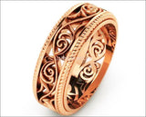 Plumeria Ring 18K Rose Gold Filigree Band Milgrain wedding band Unique Ring - Lianne Jewelry