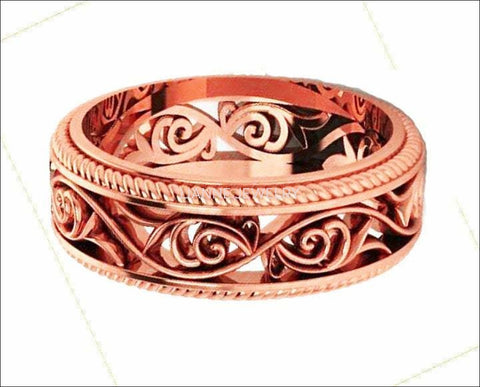18K Rose Gold Filigree Band Plumeria Ring Filigree Band Milgrain wedding band Unique Ring - Lianne Jewelry