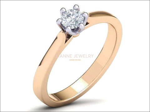 2 Tone Classic Solitaire Engagement Ring, Minimalist Ring, with Simulated Diamond in 14K or 18K Solid White and Yellow Gold - Lianne Jewelry