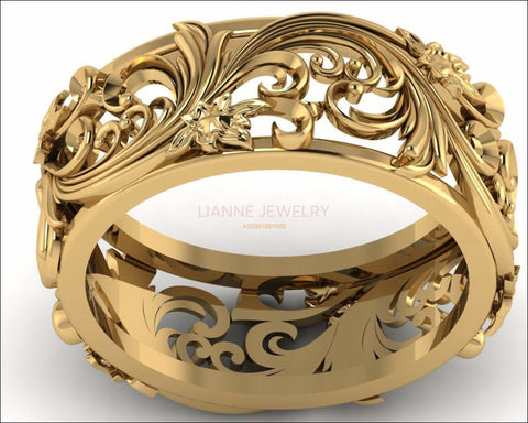 18K Unique Wedding Band Milgrain Band Filigree band Engraved Ring Flower Band Leaf Wedding Band Daughter Gift - Lianne Jewelry