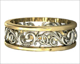14K Wedding Band Ornament Ring Celtic Ring Flower Ring Milgrain Edwardian Ring - Lianne Jewelry