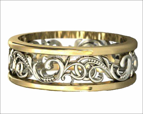 Gold Two Tone Wedding Band Celtic Band Floral Band Ornament Filigree Band Edwardian Ring - Lianne Jewelry