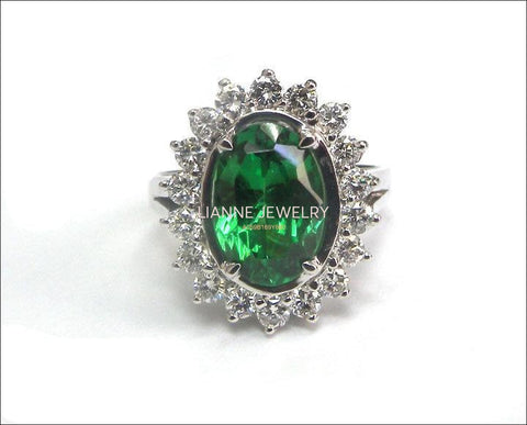 Exclusive Tsavorite Vintage Ring, Oval Halo Ring, 18 Diamonds, Certified Stone - Lianne Jewelry