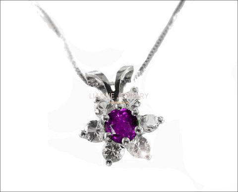 Amethyst Flower Pendant in 14K White gold, Including Venetian Box Chain 18 inches, 45cm Long Box chain, Gold Chain - Lianne Jewelry
