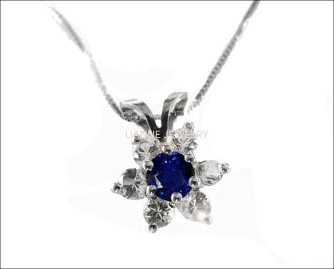 Flower Pendant Sapphire & Diamonds in 14K White gold, Including Venetian Box Chain 18 inches, 45cm Long Box chain, Gold Chain - Lianne Jewelry