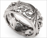 Silver Flower Band Wedding Band Unique Botanical Jewelry, Leaves Band - Lianne Jewelry