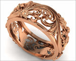 Rose gold Filigree Band 18K Leaves Band Wedding Band Milgrain Band Flower Jewelry - Lianne Jewelry