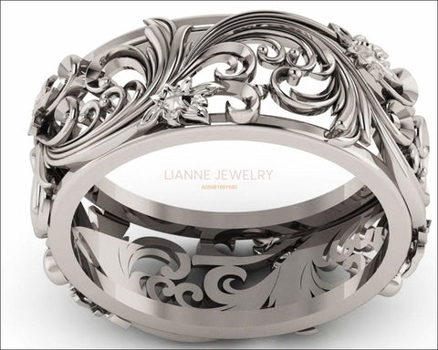 18K White gold Flower Band Wedding Band Unique Botanical Jewelry, Leaves Band - Lianne Jewelry
