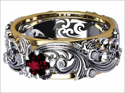 Ruby Leaves Band Silver 2 tone Wedding Band with Diamonds Filigree Flower Band - Lianne Jewelry
