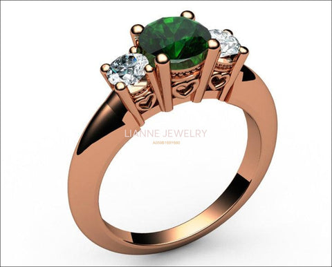 14K Rose Gold Emerald 3 stone Ring, Unique Engagement Ring, Heart Filigree, Promise Ring, Love Ring - Lianne Jewelry