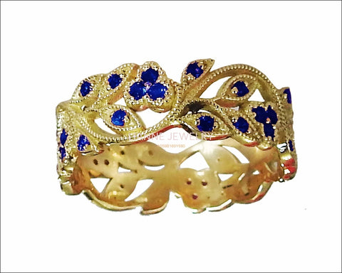 18K Yellow gold Leaves Band with 42 Sapphires Filigree Ring Milgrain Twig Ring - Lianne Jewelry