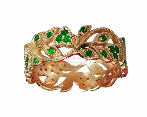 18K Rose gold Leaves Band Emerald Filigree Ring Milgrain Twig Ring - Lianne Jewelry