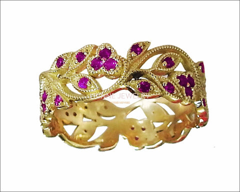 18K Yellow gold Amethyst eaves Band Purple Filigree Ring Milgrain Twig Ring - Lianne Jewelry