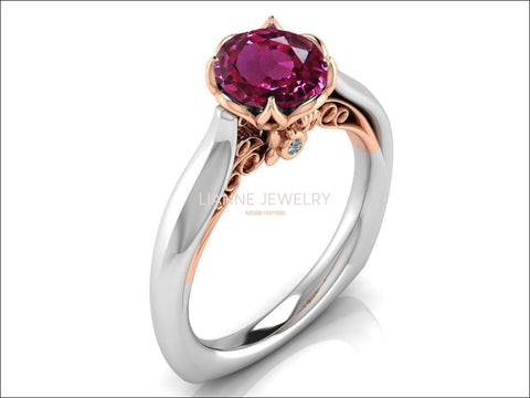 2 Tone Pink Sapphire Engagement Ring Milgrain Solitaire Ring 18K Solid Gold Contour Filigree Vintage Style - Lianne Jewelry