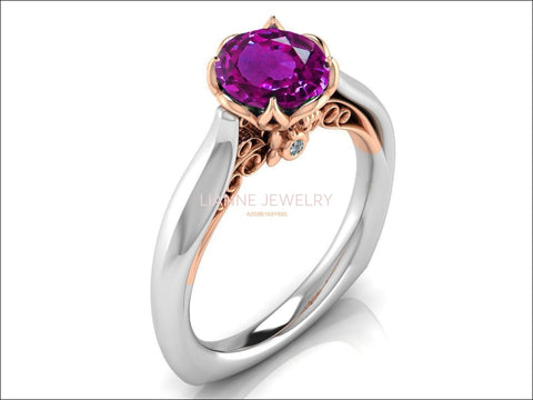 2 Tone Amethyst Engagement Ring Milgrain Solitaire Ring 18K Solid Gold Contour Filigree Vintage Style - Lianne Jewelry