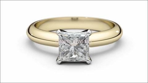 2 Tone Solitaire Engagement Ring with Princess cut Simulated Diamond made in 14K or 18K white and Yellow gold - Lianne Jewelry