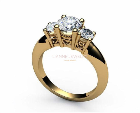 18K Heart Filigree 3 stone Engagement Ring Milgrain Ring Simulated Diamond Gold Ring - Lianne Jewelry