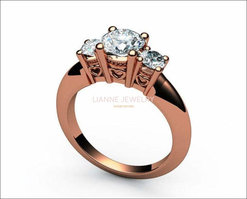 Rose Gold 3 stone Engagement Ring Heart Filigree Milgrain Ring Simulated Diamond Gold Ring - Lianne Jewelry