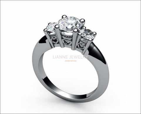 3 stone Engagement Ring Heart Filigree White gold with Simulated Diamonds - Lianne Jewelry