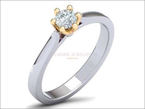 6 Prongs Engagement 2 tone Solitaire Ring, Minimalist Ring, with Simulated Diamond in 14K or 18K Solid White and Yellow Gold - Lianne Jewelry