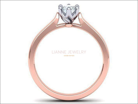 Rose Gold Engagement Ring 2 Tone Classic Solitaire Ring, Minimalist Ring with Simulated Diamond in 14K or 18K Solid White and Yellow Gold - Lianne Jewelry