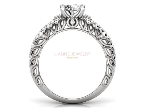 18K Filigree 1.33 ct Diamond Engagement, Unique Engagement Ring, Braided Ring, Swirl Trellis Ring - Lianne Jewelry