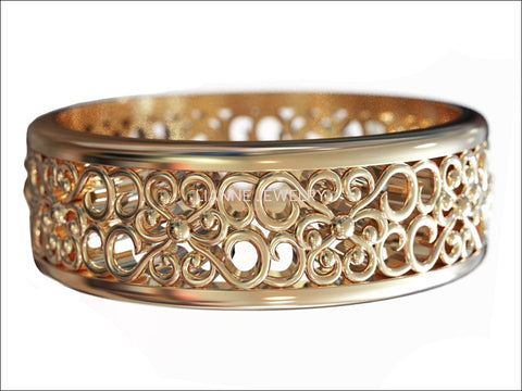 14K Solid Gold Filigree Band Ring Celtic Anniversary Ring - Lianne Jewelry