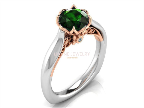 2 Tone Emerald Engagement Ring Milgrain Solitaire Ring 18K Solid Gold Contour Filigree Vintage Style - Lianne Jewelry