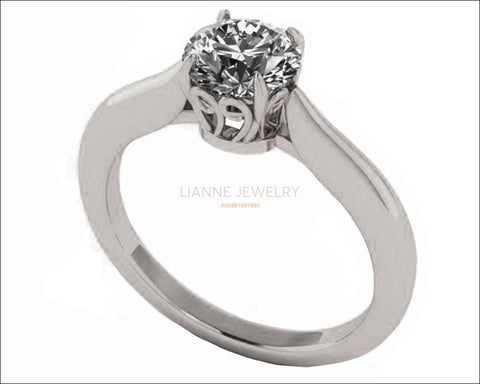 Unique Engagement Ring 1 carat Swirl Prongs Trellis Diamond Solitaire Ring 14K Solid White Gold - Lianne Jewelry