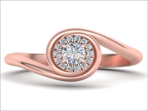 Rose Gold Solitaire Spiral Halo Ring 14K Swirl Shank Unique Engagement Ring Curved Ring Sunflower Ring - Lianne Jewelry