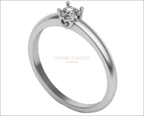 Heart Solitaire Thin Engagement Ring, Unique Engagement Ring, Silver Ring, Solitaire Heart Ring, Thin Ring, Solitaire Filigree Ring - Lianne Jewelry