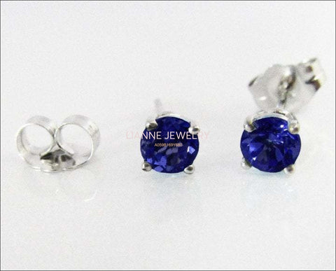 Sapphire Studs White Gold Blue stud Earrings 4mm Blue Gemstone earrings 14K White Gold Wedding Jewelry Anniversary Gift Earrings - Lianne Jewelry