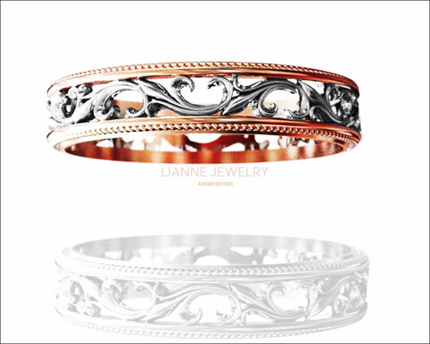 2 Tone Rose gold Floral Band Wedding band Celtic Band Botanical Band Ornament Filigree Band - Lianne Jewelry