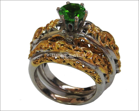 Ring Set Filigree Band 2 Tone Green Bridal Set Flower Set Ring Milgrain Band Ring Lab Emerald Art Nouveau unique wedding band - Lianne Jewelry