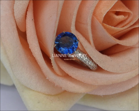 14K White gold Sapphire Engagement Ring, Round Blue Sapphire, Pave Diamonds on the Shank - Lianne Jewelry