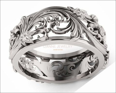 Silver Flower Wedding Band Filigree Ring Band Leaves Ring Twig Ring Milgrain Ring Wedding Ring Band in Silver - Lianne Jewelry