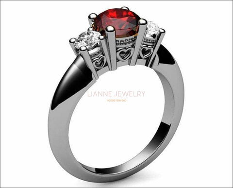 3 stone Hearts Ruby Engagement Ring Heart Filigree Ring Milgrain Ring Promise Ring for Your Love One - Lianne Jewelry