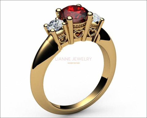 3 stone Heart Ruby Engagement Ring 14K Yellow gold Heart Filigree Ring Milgrain Ring Red Promise Ring for Your Love One - Lianne Jewelry