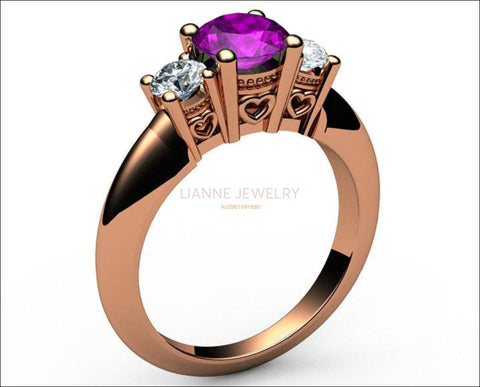 3 stone Filigree Amethyst Heart Engagement Ring 14K Rose gold Heart Milgrain Ring Promise Ring for Your Love One - Lianne Jewelry