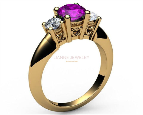 3 stone Heart Filigree Amethyst Engagement Ring 14K Yellow gold Heart Milgrain Ring Promise Ring for Your Love One - Lianne Jewelry