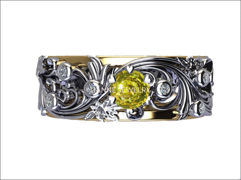 Yellow Sapphire Wedding Flower Band 18K Gold Leaves with Accent Diamonds Floral Band Jewelry - Lianne Jewelry