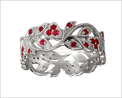 18K White gold Leaves Band with Rubies Filigree Ring Milgrain Twig Ring - Lianne Jewelry