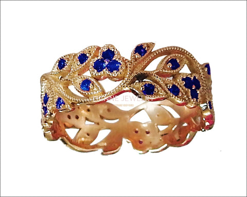 18K Rose gold Leaves Band with 42 Sapphires Filigree Ring Milgrain Twig Ring - Lianne Jewelry