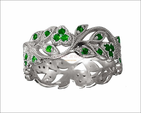 18K White gold Leaves Band Emerald Filigree Ring Milgrain Twig Ring - Lianne Jewelry