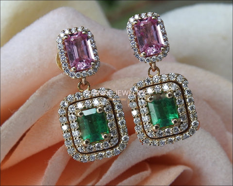 14K Drop Earrings Pink Sapphire Emerald with Diamonds surrounding Dangle Earring - Lianne Jewelry