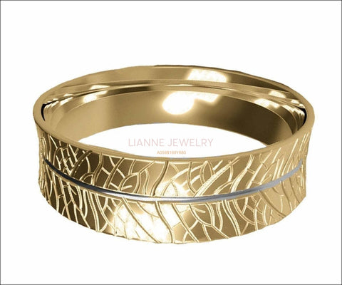 14K Milgrain Band, 7mm Wide Band, Engraved Band, Wedding Band, Gift for Her or Gift for Him - Lianne Jewelry